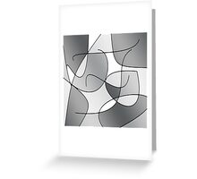 ABSTRACT CURVES-1 (Greys & White-3)-(9000 x 9000 px) Greeting Card