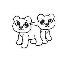 2 girlfriends team few female girl woman walk sweet cute comic cartoon teddy bear Photographic Print