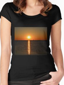 Green Bay postcard sunset - 1 Women's Fitted Scoop T-Shirt