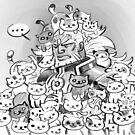 Ganondorf submerged into a swarm of Neko Atsume cats by Figment Forms