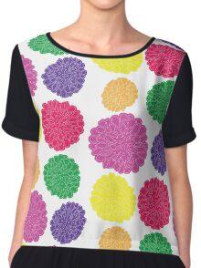 Multi-colored Chrysanthemums Chiffon Top