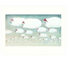 Christmas Cloudy Sheep Art Print