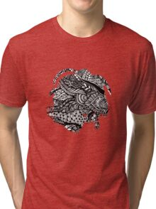 Hand drawing black and white zentangle pattern Tri-blend T-Shirt
