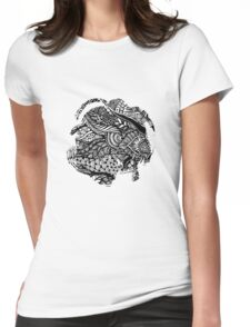Hand drawing black and white zentangle pattern Womens Fitted T-Shirt