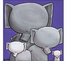 Splatter Elephant Family Photographic Print