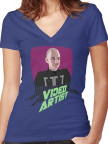 Knox Harrington, The Video Artist Women's Fitted V-Neck T-Shirt