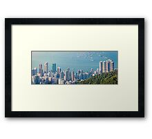 Panorama of Hong Kong Harbour in vintage tone, winter Framed Print