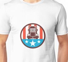Truck USA Flag Circle Retro Unisex T-Shirt