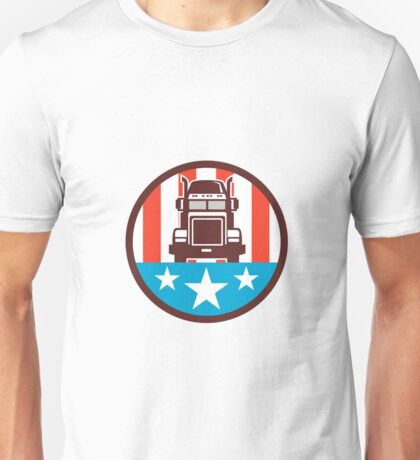 Truck USA Flag Circle Retro Unisex T-Shirt