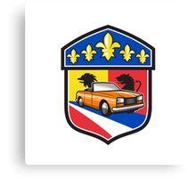 Vintage Cabriolet Fleur-de-Lis Crest Retro Canvas Print