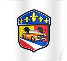 Vintage Cabriolet Fleur-de-Lis Crest Retro Poster