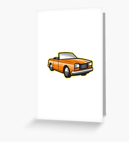 Vintage Cabriolet Top-Down Car Isolated Retro Greeting Card
