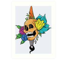 Blooming Skull and Brush Art Print