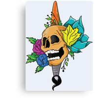 Blooming Skull and Brush Canvas Print