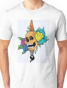 Blooming Skull and Brush Unisex T-Shirt