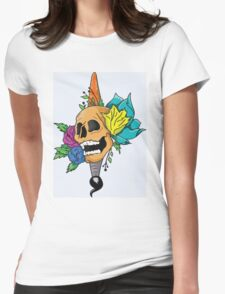 Blooming Skull and Brush Womens Fitted T-Shirt