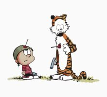 Calvin And Hobbes playing One Piece - Short Sleeve