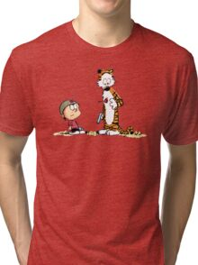 Calvin And Hobbes playing Tri-blend T-Shirt