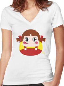 Neko Chan Daruma Women's Fitted V-Neck T-Shirt