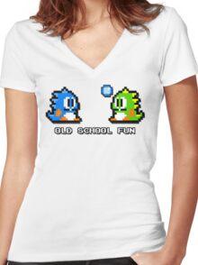 Old School Fun - Bubble Bobble - Bub and Bob - Arcade Fun + Retro Love Women's Fitted V-Neck T-Shirt