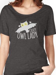 Crazy owl lady (white snowy owl) Women's Relaxed Fit T-Shirt