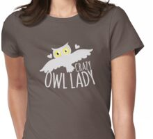Crazy owl lady (white snowy owl) Womens Fitted T-Shirt