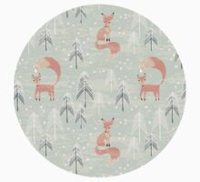 Seamless pattern with fox in winter forest Baby Tee