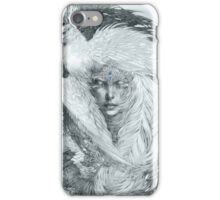 Fairy lady with white peacock and raven. iPhone Case/Skin