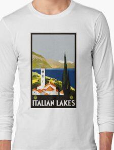 Italian Lakes Vintage Travel Poster Long Sleeve T-Shirt