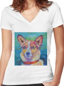 Dog portrait dog painting Women's Fitted V-Neck T-Shirt