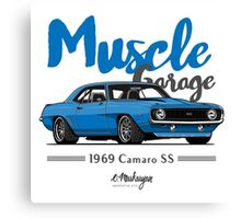 Muscle Garage. Camaro SS 1969 (blue) Canvas Print