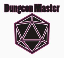 Neon Pink Dungeon Master with Dice on Black Kids Tee