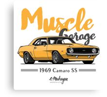 Muscle Garage. Camaro SS 1969 (yellow) Canvas Print