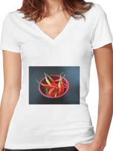 Chillies in a bowl Women's Fitted V-Neck T-Shirt
