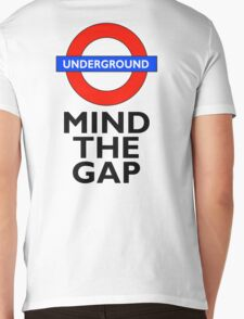 TUBE, London, Underground, Mind the gap, BRITISH, BRITAIN, UK, English,on WHITE Mens V-Neck T-Shirt