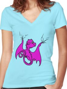 Pink Dragon Rider Women's Fitted V-Neck T-Shirt