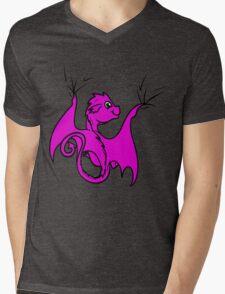 Pink Dragon Rider Mens V-Neck T-Shirt