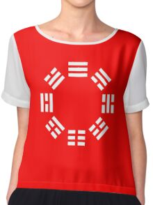 I Ching, symbol, Book of Changes, WHITE on Black Chiffon Top