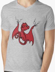 Red Dragon Rider Mens V-Neck T-Shirt