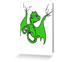 Green Dragon Rider Greeting Card