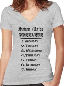 Seven Major Problems Women's Fitted V-Neck T-Shirt