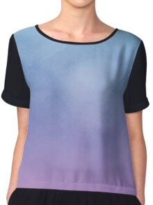 Blue Fade To Purple - Abstract Watercolor Chiffon Top