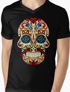 Mustache Skull Mens V-Neck T-Shirt