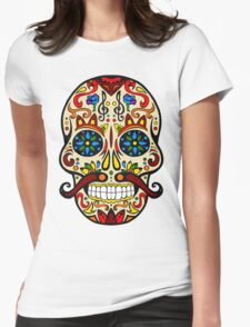 Mustache Skull Womens Fitted T-Shirt