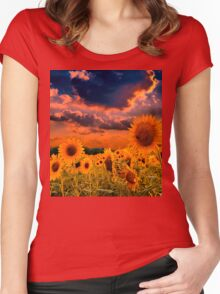 Sunflowers Field  Women's Fitted Scoop T-Shirt