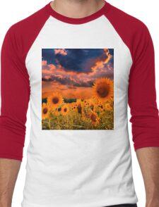Sunflowers Field  Men's Baseball ¾ T-Shirt