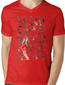Barcelona Summer Bird Lady  Mens V-Neck T-Shirt