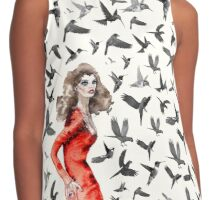 Barcelona Summer Bird Lady  Contrast Tank