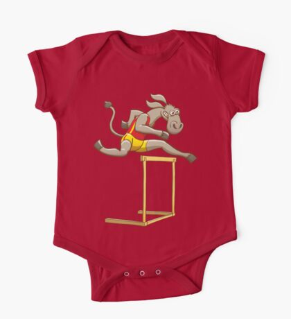 Donkey running and jumping over a hurdle One Piece - Short Sleeve
