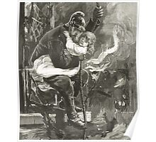 Victorian fireman rescuing a child Poster